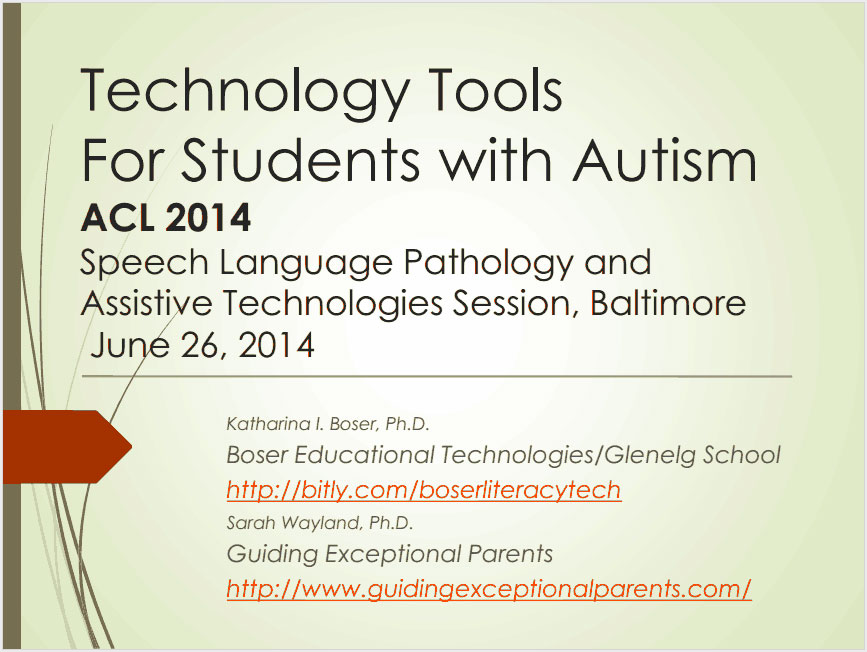 SLPAT 2014: Technology Tools for Students with Autism